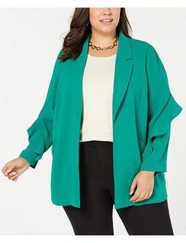 Plus Size Flounce Sleeve Jacket, Created For Macy's by Alfani