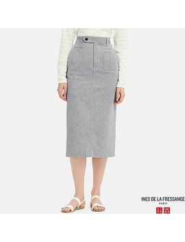 Women Ines Linen Cotton Blend Straight Fit Skirt by Uniqlo