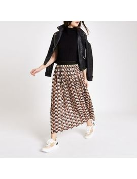 Brown Geo Print Pleated Midi Skirt by River Island