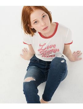 Love Always Wins Ringer Graphic Girl Tee by Aeropostale
