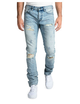 Prps Mens Rip/Repair Distressed Tapered Jeans With Multi Stitch by Prps
