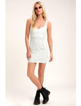 Senses White Denim Mini Dress by Minkpink