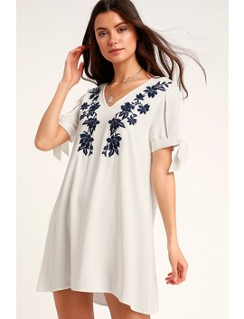 Ambrosia Navy Blue And White Embroidered Tie Sleeve Shift Dress by Lulus