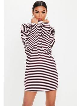 Berry High Neck Stripe Sweater Dress by Missguided