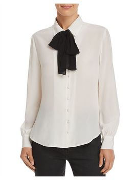True Bow Detail Silk Blouse by Frame