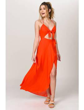 belle-red-orange-halter-maxi-dress by tobi