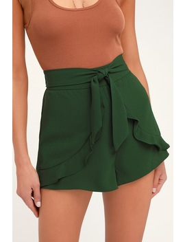 On An Adventure Dark Green Ruffle Tie Front Shorts by Lulus