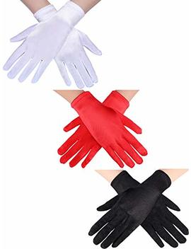 Jovitec 3 Pairs Women Short Satin Gloves Wrist Length Gloves Gown Gloves Opera Gloves For Party by Jovitec