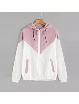 Fei Tong Autumn Fashion Hooded Two Tone Windbreaker Jacket Zipper Pockets Casual Long Sleeves Feminino Coats Outwear by Feitong