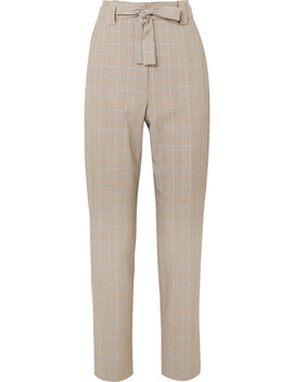 Belted Checked Woven Tapered Pants by Maje