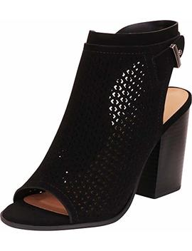 Cambridge Select Women's Open Toe Laser Cutout Perforated Slingback Stacked Block Heel Ankle Bootie by Cambridge Select