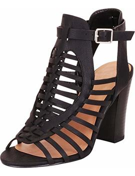 Cambridge Select Women's Open Toe Strappy Caged Gladiator Chunky Block Heel Ankle Bootie by Cambridge Select