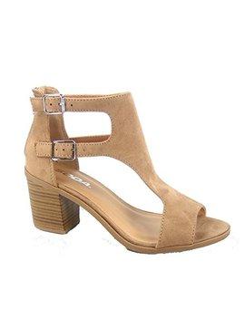 Soda Allure S Women's Fashion Double Buckles Chunky Heel Open Toe Bootie Sandal Shoes by Soda
