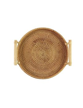 Vintage Rustic Handmade Round Rattan Table Tray With Wood Handles/Wedding Gift Brown Bread Tray/Bread Basket/Storage Basket by Etsy