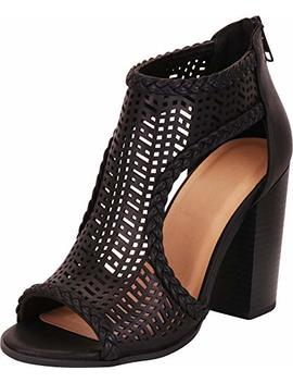 Cambridge Select Women's Open Toe Laser Cutout Caged Chunky Block Heel Ankle Bootie by Cambridge Select