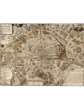 Giant 1705 Paris Map Print Vintage Restoration Style Wall Map Decor Old World Map Of Paris France Street Map Print Anniversary Gift by Etsy