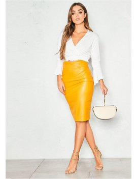 Cassia Mustard Faux Leather Midi Skirt by Missy Empire
