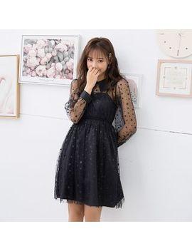 Hagendada   Long Sleeve Mini A Line Star Mesh Dress by Hagendada