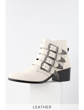 Billey White Leather Belted Ankle Booties by Steve Madden