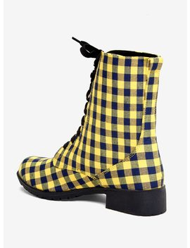 Yellow &Amp; Blue Gingham Combat Boots by Hot Topic