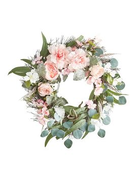 "Pink Faux Peony, Rose & Eucalyptus Asymmetrical 24"" Wreath by Pier1 Imports"
