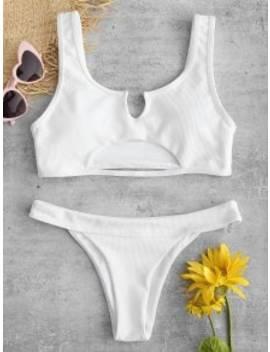 Zaful Ribbed Cutout Bikini Set   White S by Zaful