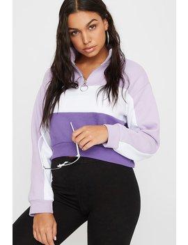 Tricolour Half Zip Cropped Fleece Sweatshirt by Urban Planet