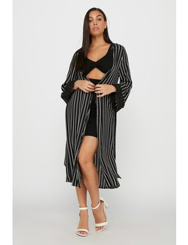 Striped Lace Long Sleeve Belted Longline Cardigan by Urban Planet