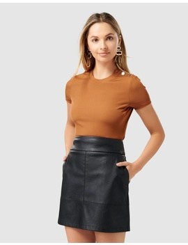 Clara Button Shoulder Rib Top by Forever New