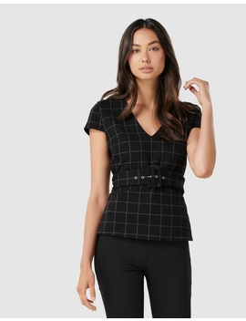 Julianna Ponte Check Belted Top by Forever New