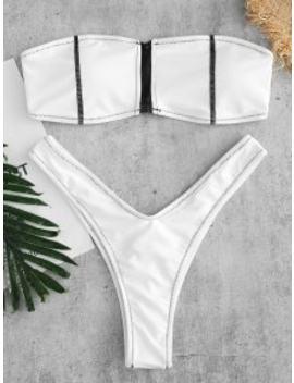 Zaful Front Zip Bandeau Bikini Set   White S by Zaful
