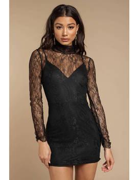 No Secret Black Lace Bodycon Dress by Tobi
