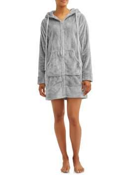 Cervantes Women's Jacquard Hooded Velvet Zippered Lounge Robe by Cervantes