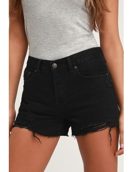 Sofia Black Distressed Denim Shorts by Free People