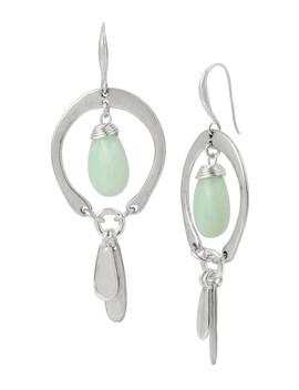 Green Stone Orbital Earrings by Robert Lee Morris
