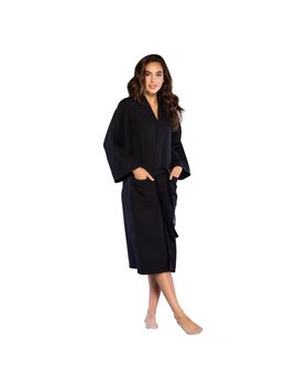 Turquaz Linen Lightweight Long Waffle Kimono Spa Robe For Women (Small/Medium, Black) by Turquaz Linen
