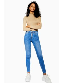 Petite Mid Blue Button Fly Jamie Jeans by Topshop