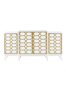 Maria Dining Buffet Server Gold Lattice Design Kitchen Storage Cabinet Gold/White See Below by Madison Park