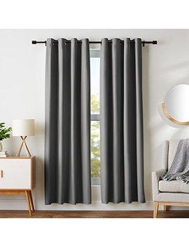 "Amazon Basics Room Darkening Blackout Curtain Set With Grommets   52"" X 84"", Dark Grey by Amazon Basics"