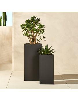"Blox 24"" Tall Galvanized Hi Gloss White Planter by Crate&Barrel"
