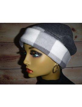 Chemo Headwear, Slouchy Beanie, Winter Hat, Womens Fleece Hat, Pill Box Hat, Cloche Hat, Gray &  Grey Plaid Fleece Beanie Hat by Etsy