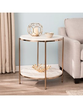Harper Blvd Silvanus Round Faux Stone End Table by Harper Blvd