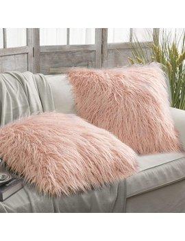 "Phantoscope Set Of 2 Throw Pillow Covers Faux Fur Phantoscope Decorative New Luxury Series Merino Style Orange Color Faux Fur Throw Pillow Case Cushion Cover 18"" X 18""(Pillow Covers Only) by Phantoscope"