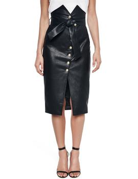 Faux Leather Pencil Skirt by Bardot