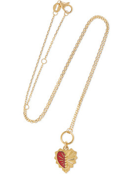 Mini Heart Love Token 18 Karat Gold And Enamel Necklace by Foundrae