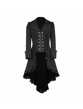 Pasato 2018 Women Long Sleeve Retro Lace Trim Button Up Vintage Irregular Tailcoat Outwear by Pasato