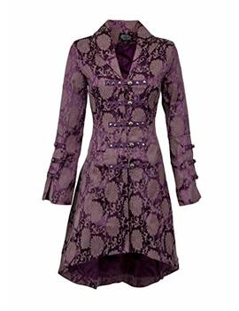 Womens Purple Brocade Gothic Steampunk Floral Jacket Coat by Glam And Gloria