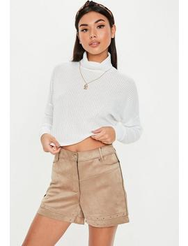 White Ribbed Funnel Neck Crop Sweatshirt by Missguided