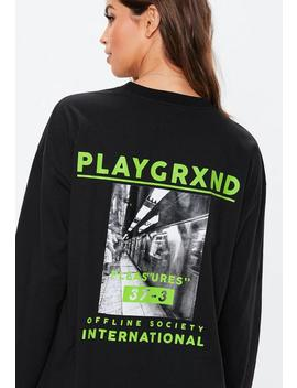 Black Playgrxnd Long Oversized T Shirt Dress by Missguided