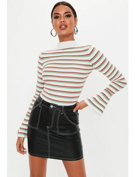 White Stripe Flare Sleeve Knitted Bodysuit by Missguided